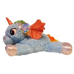 Unicorn knuffel liggend 44cm blauw