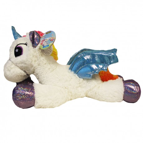Unicorn knuffel liggend 44cm wit