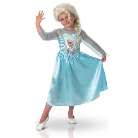 Disney Frozen verkleedjurk met pruik Elsa 7-8 jaar
