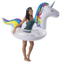 Reuze opblaasbare zwemring unicorn met glitters